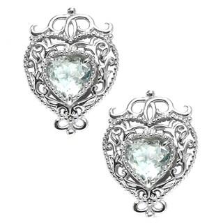 Dallas Prince Silver Silver white topaz filigree heart starter stud