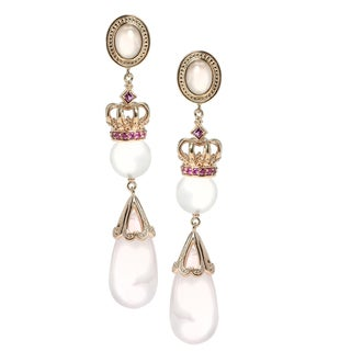 Dallas Prince Gold over Silver Rose Quartz, Rhodolite & Pink Sapphire Earrings