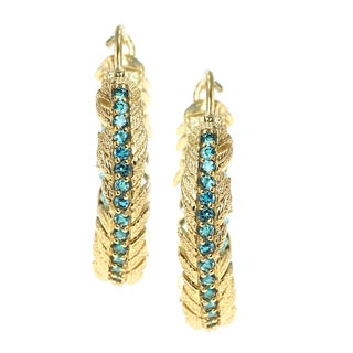 Dallas Prince Gold over silver London Blue Topaz and Apatite Feather Hoop Earrings
