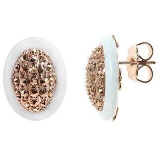 Dallas Prince Gold over Silver White Agate and Chrome Marcasite Stud Earrings