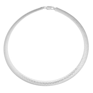 Argento Italia Sterling Silver High Polish and Diamond-cut Reversible Omega Necklace (17 inches)
