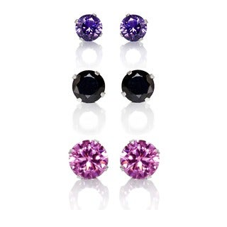 Sterling Silver Black, Purple and Pink Cubic Zirconia 3-Pair Earring Stud Set (4, 6, 8mm)