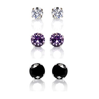 Sterling Silver Black, Purple and Clear Cubic Zirconia 3-Pair Earring Stud Set (4, 6, 8mm)