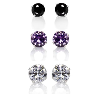 Sterling Silver Black, Pink and Clear Cubic Zirconia 3-Pair Earring Stud Set (4, 6, 8mm)
