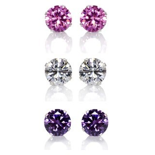 Sterling Silver Pink, Purple and Clear 8-mm Cubic Zirconia 3-pair Earring Stud Set