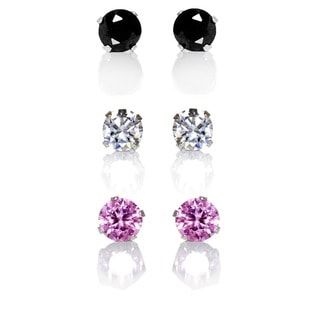 Sterling Silver Black, Clear and Pink 4-mm Cubic Zirconia 3-Pair Earring Stud Set