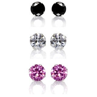 Sterling Silver Black, Clear and Pink 8-mm Cubic Zirconia 3-Pair Earring Stud Set