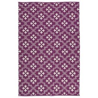 Indoor/Outdoor Laguna Purple and Ivory Tiles Flat-Weave Rug (8'0 x 10'0) - 8' x 10'