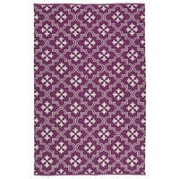 Indoor/Outdoor Laguna Purple and Ivory Tiles Flat-Weave Rug - 8' x 10'