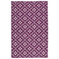 Indoor/Outdoor Laguna Purple and Ivory Tiles Flat-Weave Rug - 8' x 10'