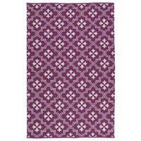 Indoor/Outdoor Laguna Purple and Ivory Tiles Flat-Weave Rug - 2' x 3'