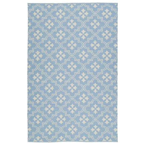 Indoor/Outdoor Laguna Light Blue and Ivory Tiles Flat-Weave Rug - 9' x 12'