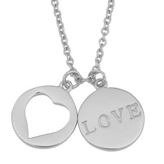 Fremada Rhodium Plated Sterling Silver Love Disc Necklace