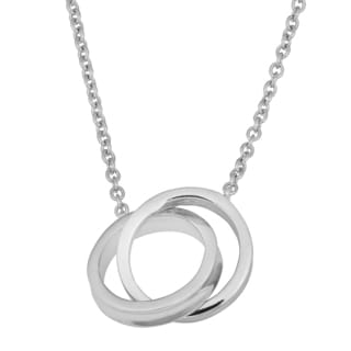 Fremada Rhodium Plated Sterling Silver Double Circle Necklace