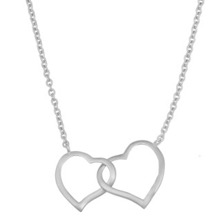 Fremada Rhodium Plated Sterling Silver Double Heart Necklace