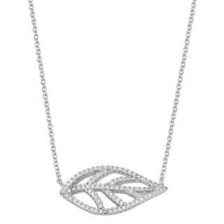 Fremada Rhodium Plated Sterling Silver With Cubic Zirconia Leaf Necklace