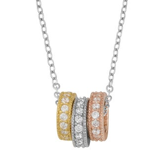 Fremada Rhodium Plated Sterling Silver with Cubic Zirconia Colored Rings Necklace