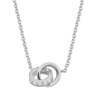 Fremada Rhodium Plated Sterling Silver With Cubic Zirconia Double Ring Necklace
