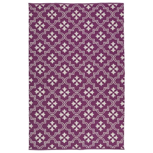 Indoor/Outdoor Laguna Purple and Ivory Tiles Flat-Weave Rug - 9' x 12'