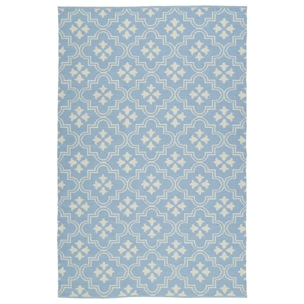 Indoor/Outdoor Laguna Light Blue and Ivory Tiles Flat-Weave Rug (3'0 x 5'0)