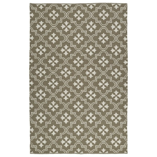 Indoor/Outdoor Laguna Dark Taupe and Ivory Tiles Flat-Weave Rug - 8' x 10'