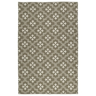 Indoor/Outdoor Laguna Dark Taupe and Ivory Tiles Flat-Weave Rug (8'0 x 10'0)