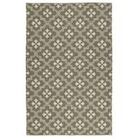 Indoor/Outdoor Laguna Dark Taupe and Ivory Tiles Flat-Weave Rug - 3' x 5'