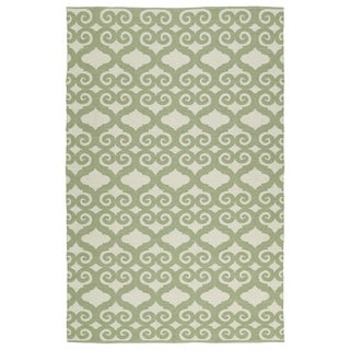 Indoor/Outdoor Laguna Ivory and Green Scroll Flat-Weave Rug (9'0 x 12'0) - 9' x 12'