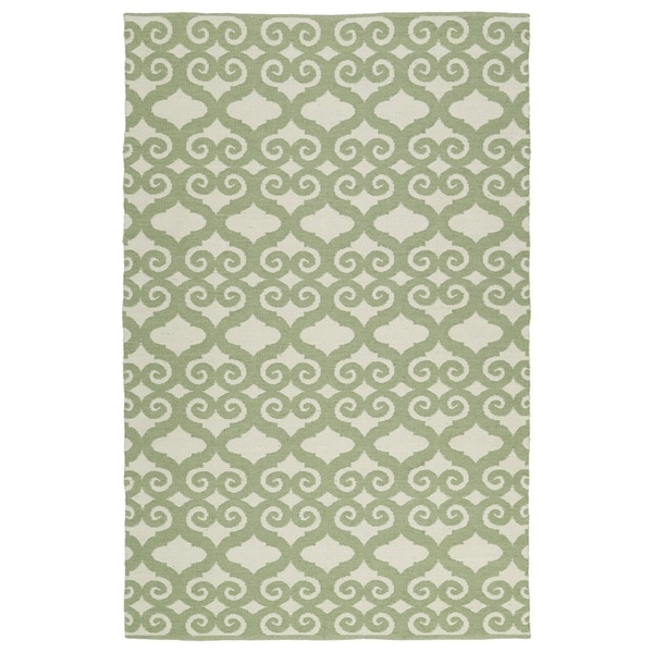 Indoor/Outdoor Laguna Ivory and Green Scroll Flat-Weave Rug - 9' x 12'