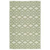 Indoor/Outdoor Laguna Ivory and Green Scroll Flat-Weave Rug - 8' x 10'