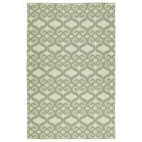 Indoor/Outdoor Laguna Ivory and Green Scroll Flat-Weave Rug - 5' x 7'6