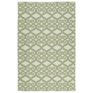 Indoor/Outdoor Laguna Ivory and Green Scroll Flat-Weave Rug (3' x 5')