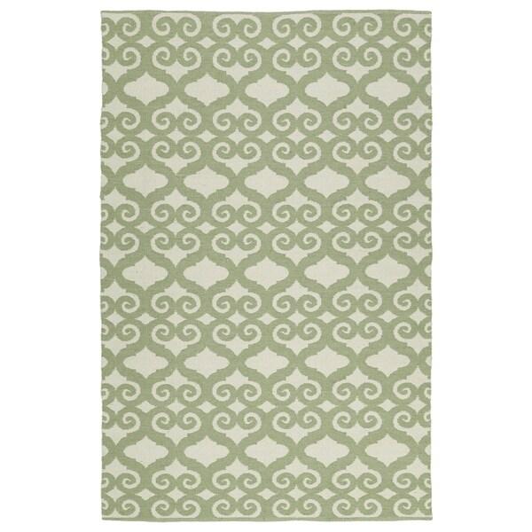 Indoor/Outdoor Laguna Ivory and Green Scroll Flat-Weave Rug - 2' x 3'