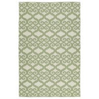 Indoor/Outdoor Laguna Ivory and Green Scroll Flat-Weave Rug - 2' x 3'