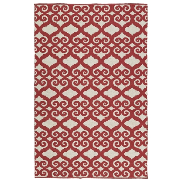 Indoor/Outdoor Laguna Ivory and Red Scroll Flat-Weave Rug (9'0 x 12'0) - 9' x 12'