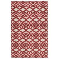 Indoor/Outdoor Laguna Ivory and Red Scroll Flat-Weave Rug - 9' x 12'