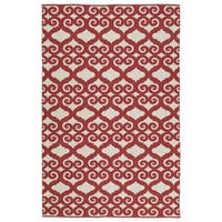Indoor/Outdoor Laguna Ivory and Red Scroll Flat-Weave Rug (8'0 x 10'0) - 8' x 10'
