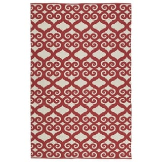 Indoor/Outdoor Laguna Ivory and Red Scroll Flat-Weave Rug (3' x 5')