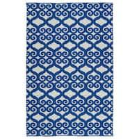 Indoor/Outdoor Laguna Ivory and Navy Scroll Flat-Weave Rug (9'0 x 12'0)