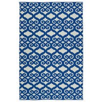 Indoor/Outdoor Laguna Ivory and Navy Scroll Flat-Weave Rug - 8' x 10'