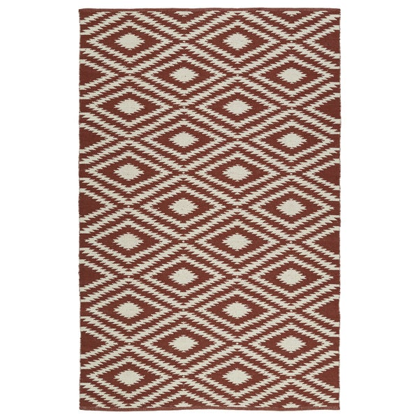 Indoor/Outdoor Laguna Brick and Ivory Ikat Flat-Weave Rug - 8' x 10'