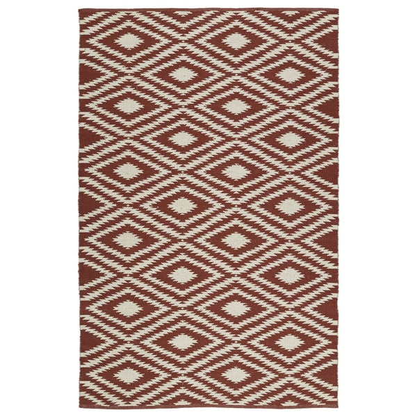 "Indoor/Outdoor Laguna Brick and Ivory Ikat Flat-Weave Rug - 5' x 7'6"""