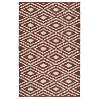 Indoor/Outdoor Laguna Brick and Ivory Ikat Flat-Weave Rug (5'0 x 7'6)