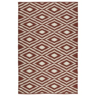 Indoor/Outdoor Laguna Brick and Ivory Ikat Flat-Weave Rug (3'0 x 5'0)
