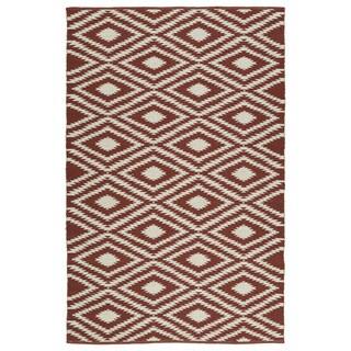Indoor/Outdoor Laguna Brick and Ivory Ikat Flat-Weave Rug (2'0 x 3'0)