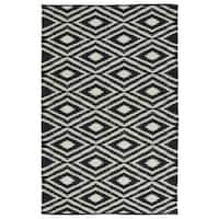 Indoor/Outdoor Laguna Black and Ivory Ikat Flat-Weave Rug (9'0 x 12'0) - 9' x 12'