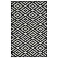Indoor/Outdoor Laguna Black and Ivory Ikat Flat-Weave Rug - 9' x 12'