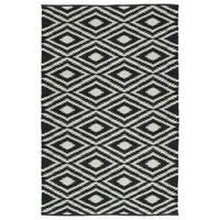Indoor/Outdoor Laguna Black and Ivory Ikat Flat-Weave Rug - 8' x 10'