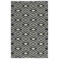 Indoor/Outdoor Laguna Black and Ivory Ikat Flat-Weave Rug (5'0 x 7'6) - 5' x 7'6""