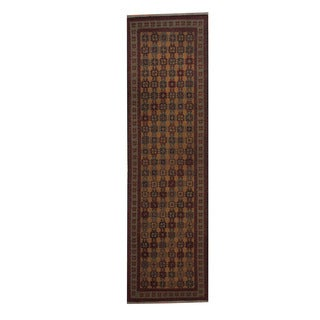 Herat Oriental Afghan Hand-woven Soumak Kilim Gold/ Light Green Wool Rug (2'10 x 10')